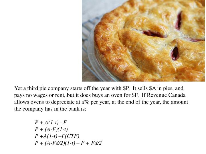 Yet a third pie company starts off the year with $P.  It sells $A in pies, and pays no wages or rent, but it does buys an oven for $F.  If Revenue Canada allows ovens to depreciate at