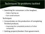 techniques to problems tackled