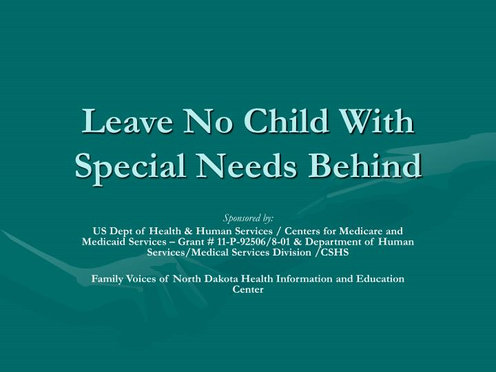 leave no child with special needs behind n.