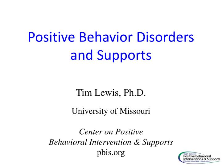 positive behavior disorders and supports n.