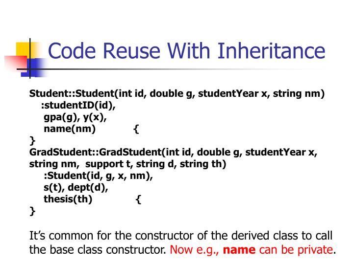 Code Reuse With Inheritance