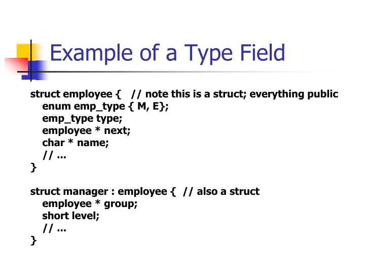 Example of a Type Field