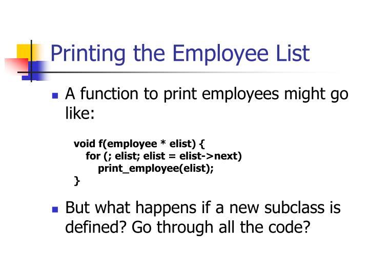 Printing the Employee List