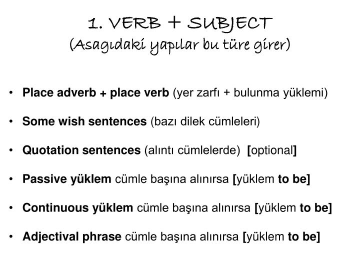 1. VERB + SUBJECT