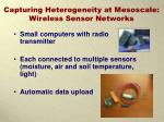 capturing heterogeneity at mesoscale wireless sensor networks