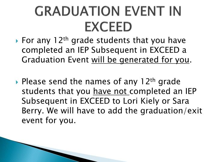 GRADUATION EVENT IN EXCEED
