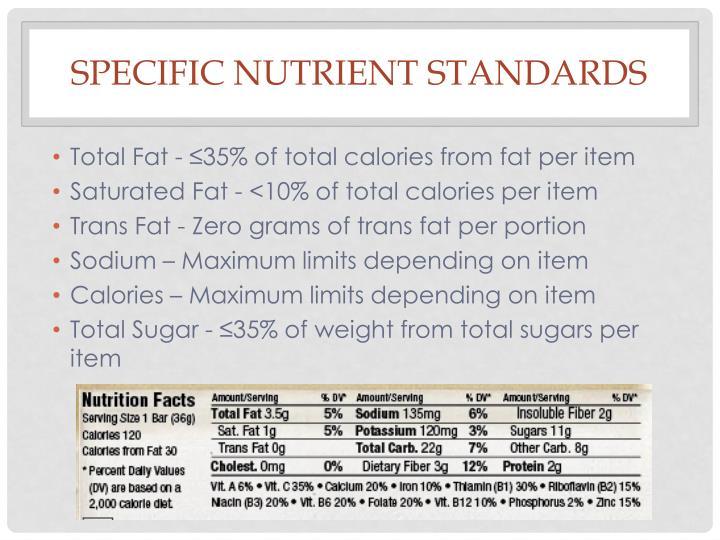 Specific Nutrient Standards