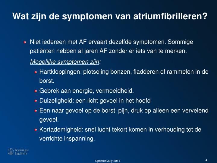 Wat zijn de symptomen van atriumfibrilleren?