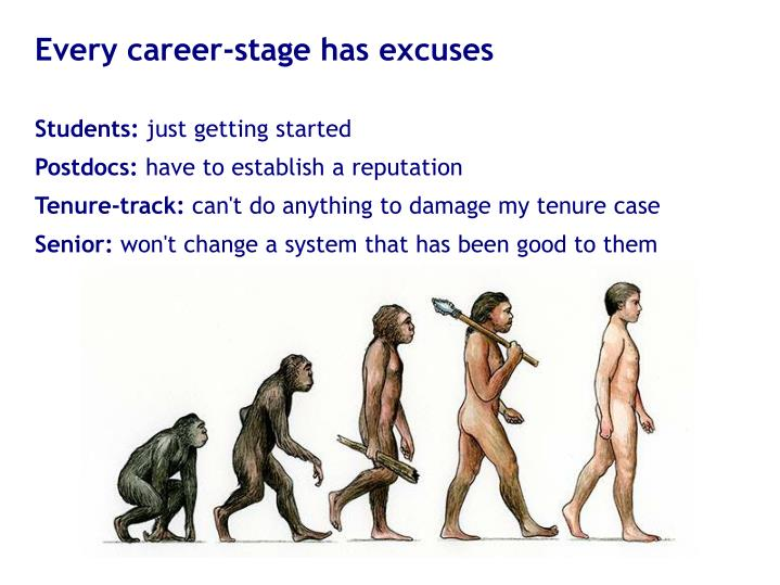 Every career-stage has excuses