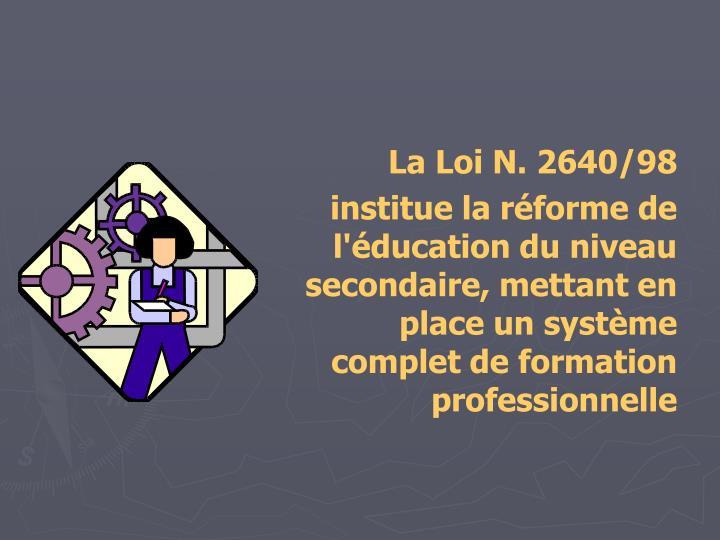 La Loi N. 2640/98