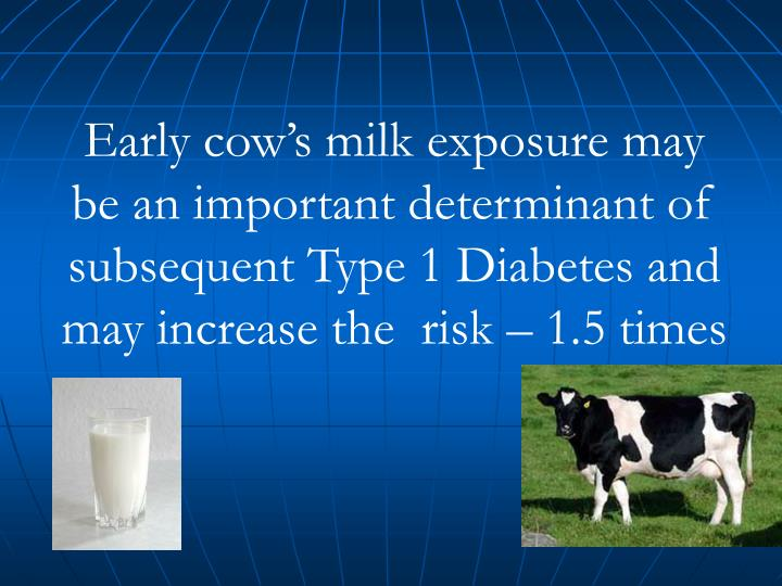 Early cow's milk exposure may be an important determinant of subsequent Type 1 Diabetes and may increase the  risk – 1.5 times