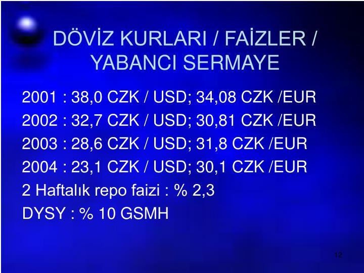 DÖVİZ KURLARI / FAİZLER / YABANCI SERMAYE