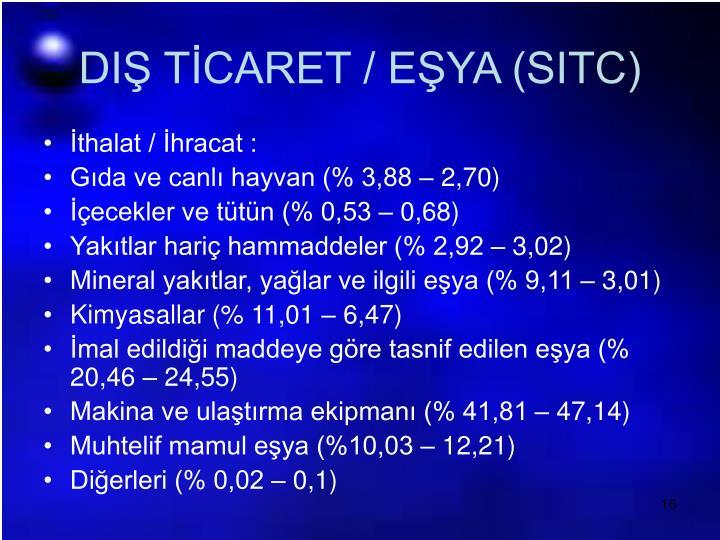 DIŞ TİCARET / EŞYA (SITC)