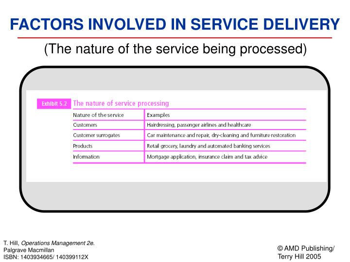 (The nature of the service being processed)