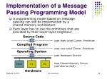 implementation of a message passing programming model