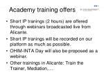 academy training offers