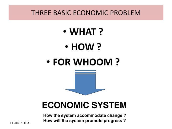 THREE BASIC ECONOMIC PROBLEM