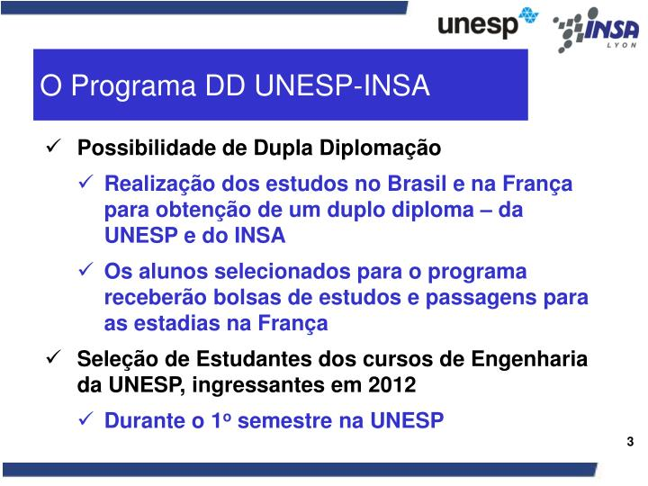 O Programa DD UNESP-INSA
