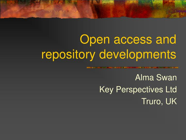 open access and repository developments n.