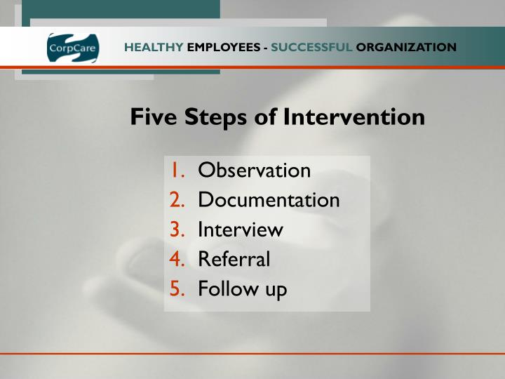 Five Steps of Intervention