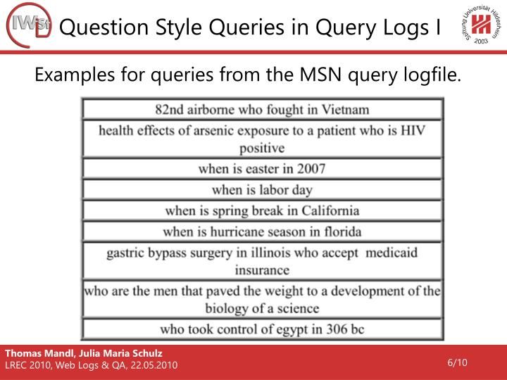 Question Style Queries in Query Logs I