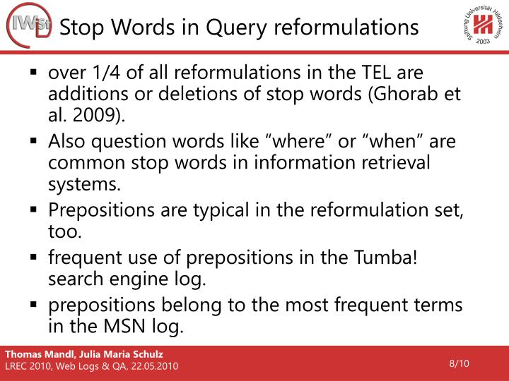 Stop Words in Query reformulations