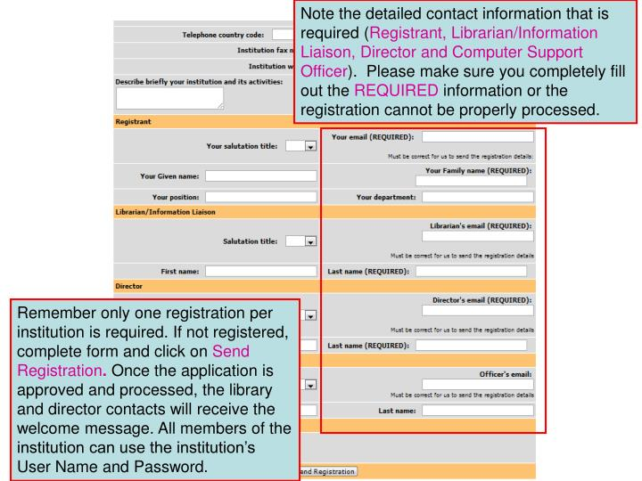 Note the detailed contact information that is required (