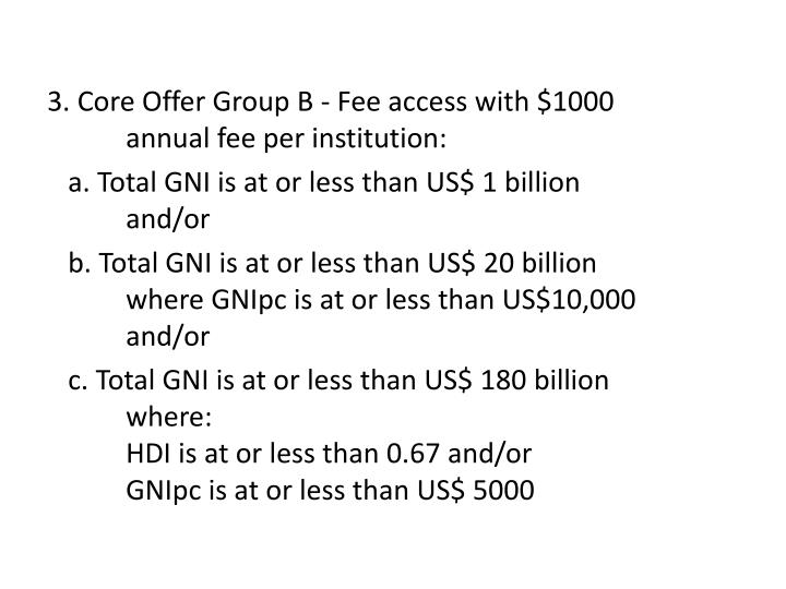 3. Core Offer Group B - Fee access with $1000 annual fee per institution: