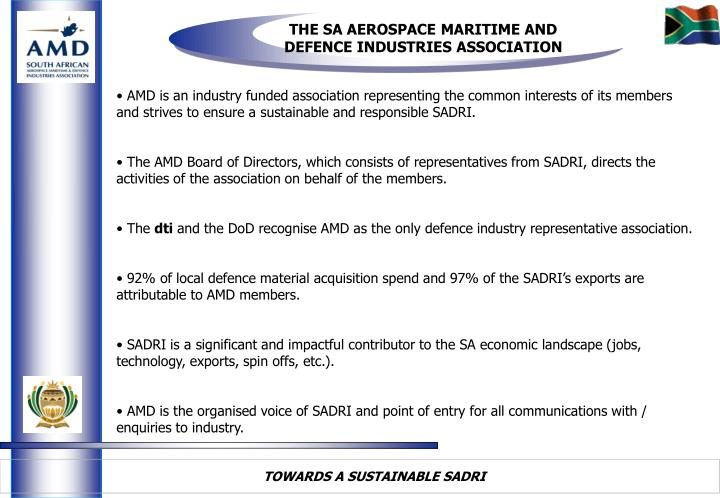 THE SA AEROSPACE MARITIME AND DEFENCE INDUSTRIES ASSOCIATION