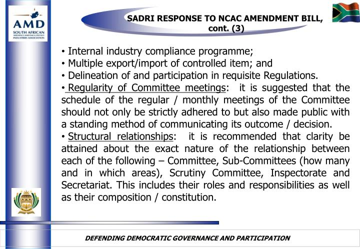 SADRI RESPONSE TO NCAC AMENDMENT BILL,