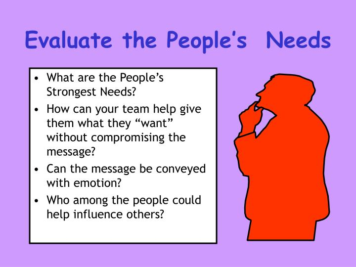 Evaluate the People's  Needs