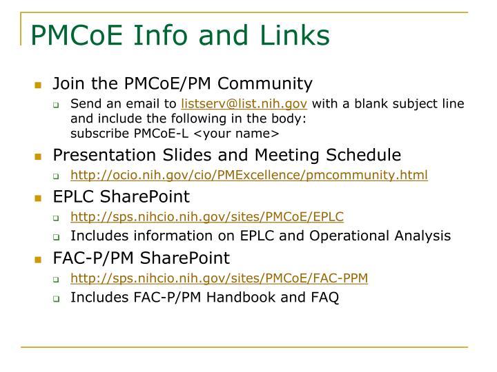 PMCoE Info and Links