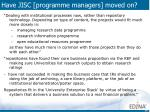 have jisc programme managers moved on