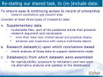 re stating our shared task to re include data