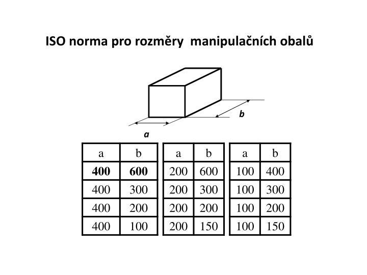 ISO norma pro rozměry  manipulačních obalů
