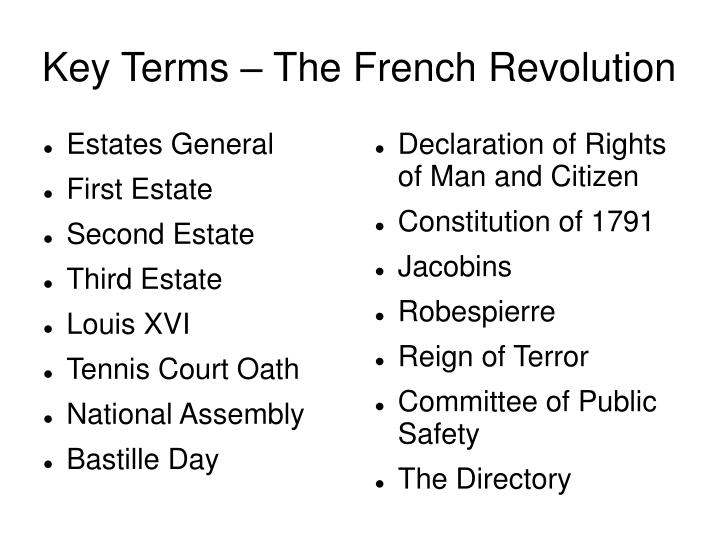 Key terms the french revolution