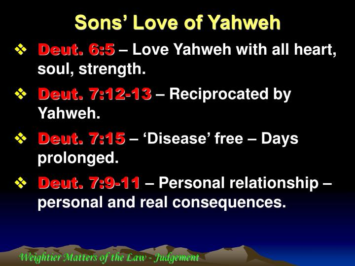 Sons' Love of Yahweh
