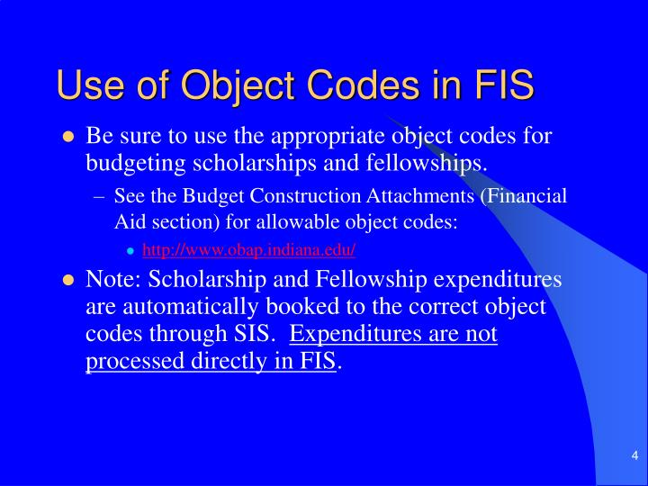 Use of Object Codes in FIS