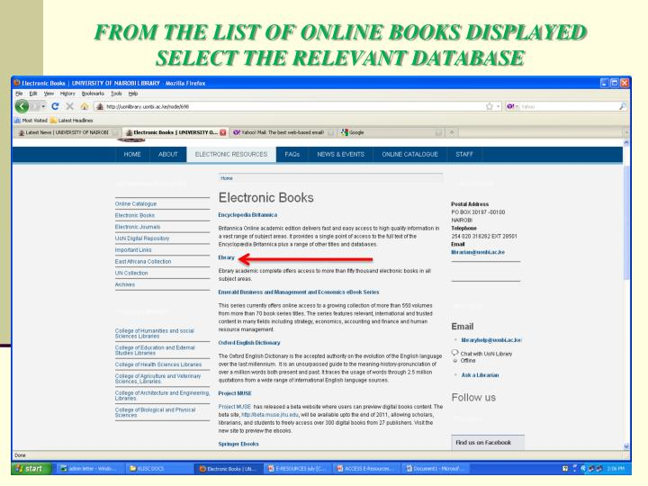 FROM THE LIST OF ONLINE BOOKS DISPLAYED