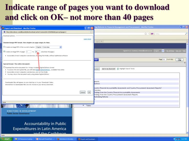 Indicate range of pages you want to download and click on OK– not more than 40 pages
