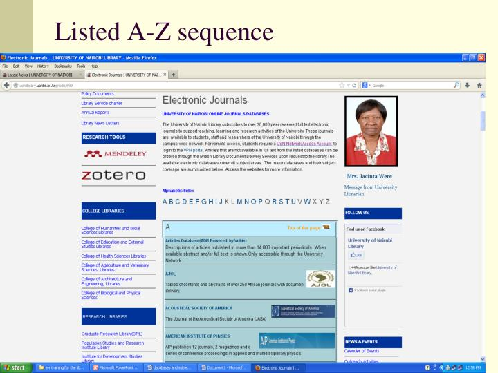 Listed A-Z sequence