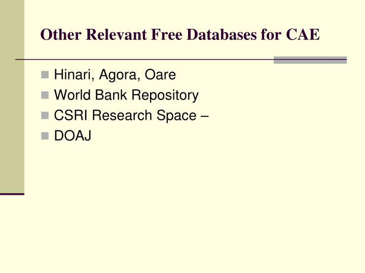 Other Relevant Free Databases for CAE