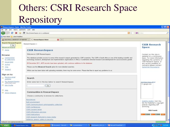 Others: CSRI Research Space Repository