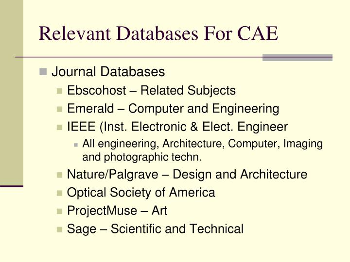 Relevant databases for cae