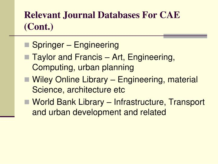 Relevant journal databases for cae cont