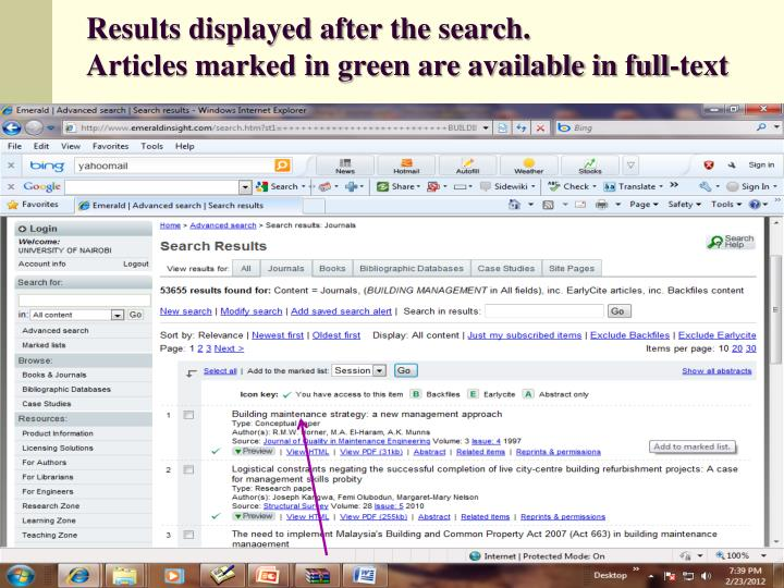 Results displayed after the search.