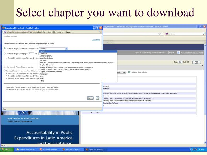 Select chapter you want to download