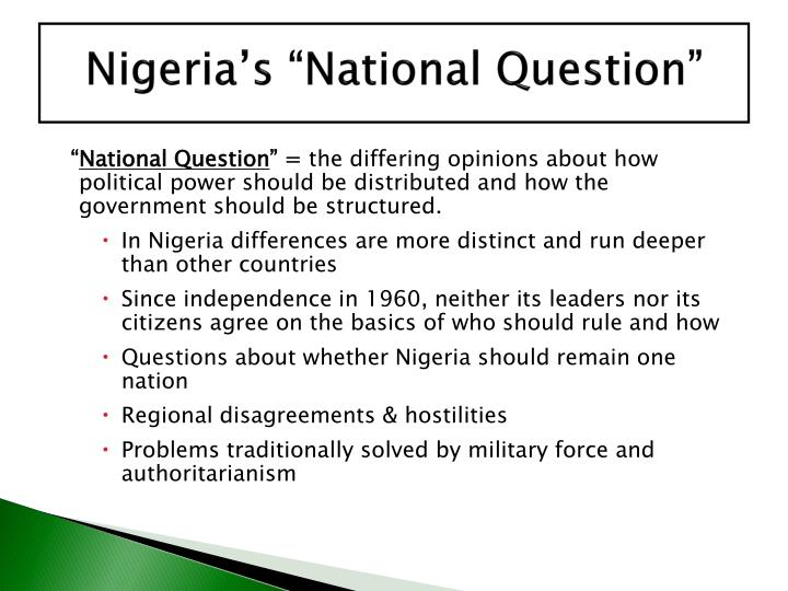 """Nigeria's """"National Question"""""""