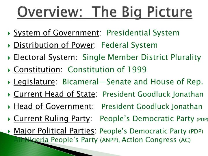 Overview:  The Big Picture