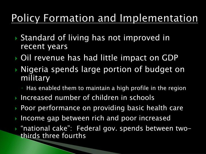 Policy Formation and Implementation